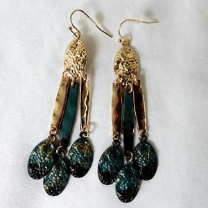 New Golden and Green Patina Drop Fringe Earrings